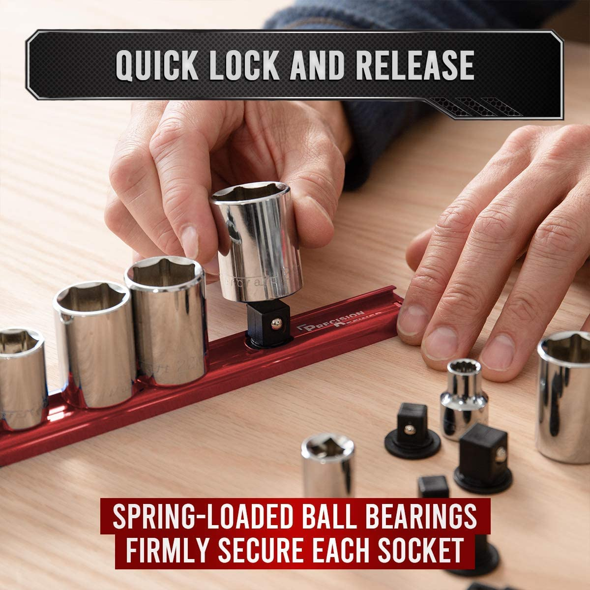 360 Rotation 3//8-Inch x 16 Clips 1//4-Inch x 16 Clips Precision Defined Aluminum Tool Socket Holder 3-Piece Set 1//2-Inch x 14 Clips Black