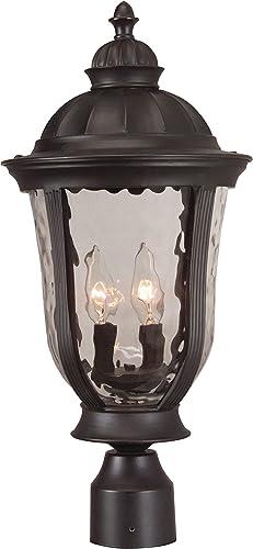 Craftmade Z6025-OBO Frances Outdoor Pier Mount Post Lighting, 3-Light, 180 Watts, Oiled Bronze 12 W x 24 H