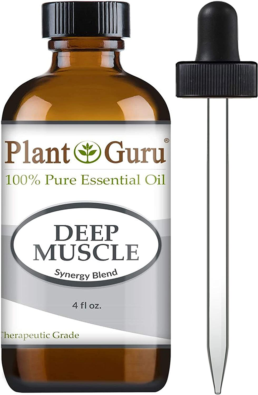 Deep Muscle Essential Oil Blend 4 oz 100% Pure, Undiluted, Therapeutic Grade. Great for Joint, Neck, Back, Spasms, Stiffness, Sore Muscle Pain.