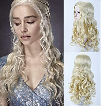 27fea4535c8 DIFEI Fluffy Cosplay Wigs for Game of Thrones Daenerys Targaryen Blonde  Curly Wig Long Wig Hair Curly...