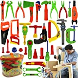 ALCYONEUS Kids Pretend Play Toy Tool Set Workbench Construction Workshop Toolbox Tools Kit