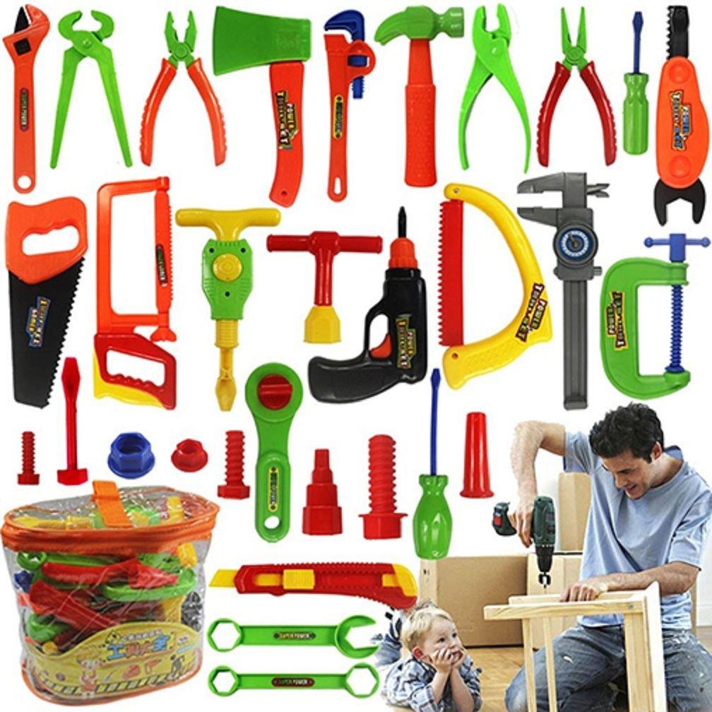 ALCYONEUS Kids Pretend Play Toy Tool Set Workbench Construction Workshop Toolbox Tools Kit ¡