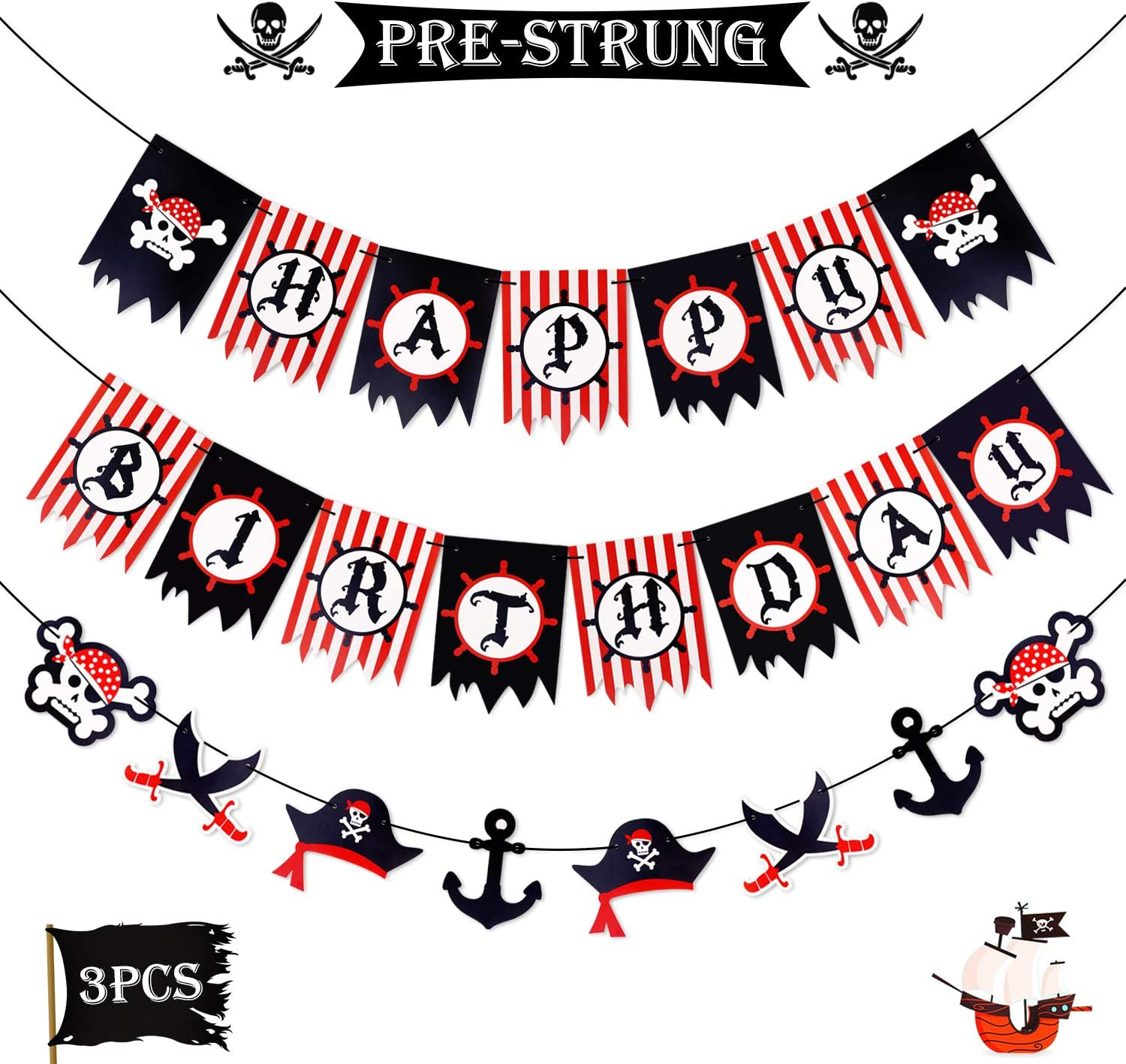 Amazon Com Levfla Pirate Happy Birthday Banner Party Decoration Supplies Sword Captain Hat Helm Photo Props Garland For Kids Nautical Sailing Treasure Black And Red Striped Party Pennant Decorations Toys Games