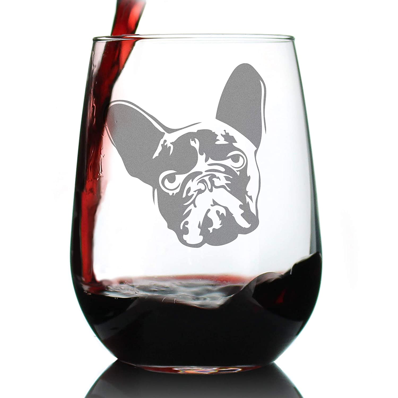 17 oz Stemless Wine Glass French Bulldog