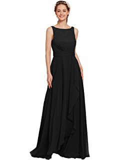 AWEI Womens Chiffon Bridesmaid Dress - Long Formal Evening Dress Pleated Party Prom Dresses