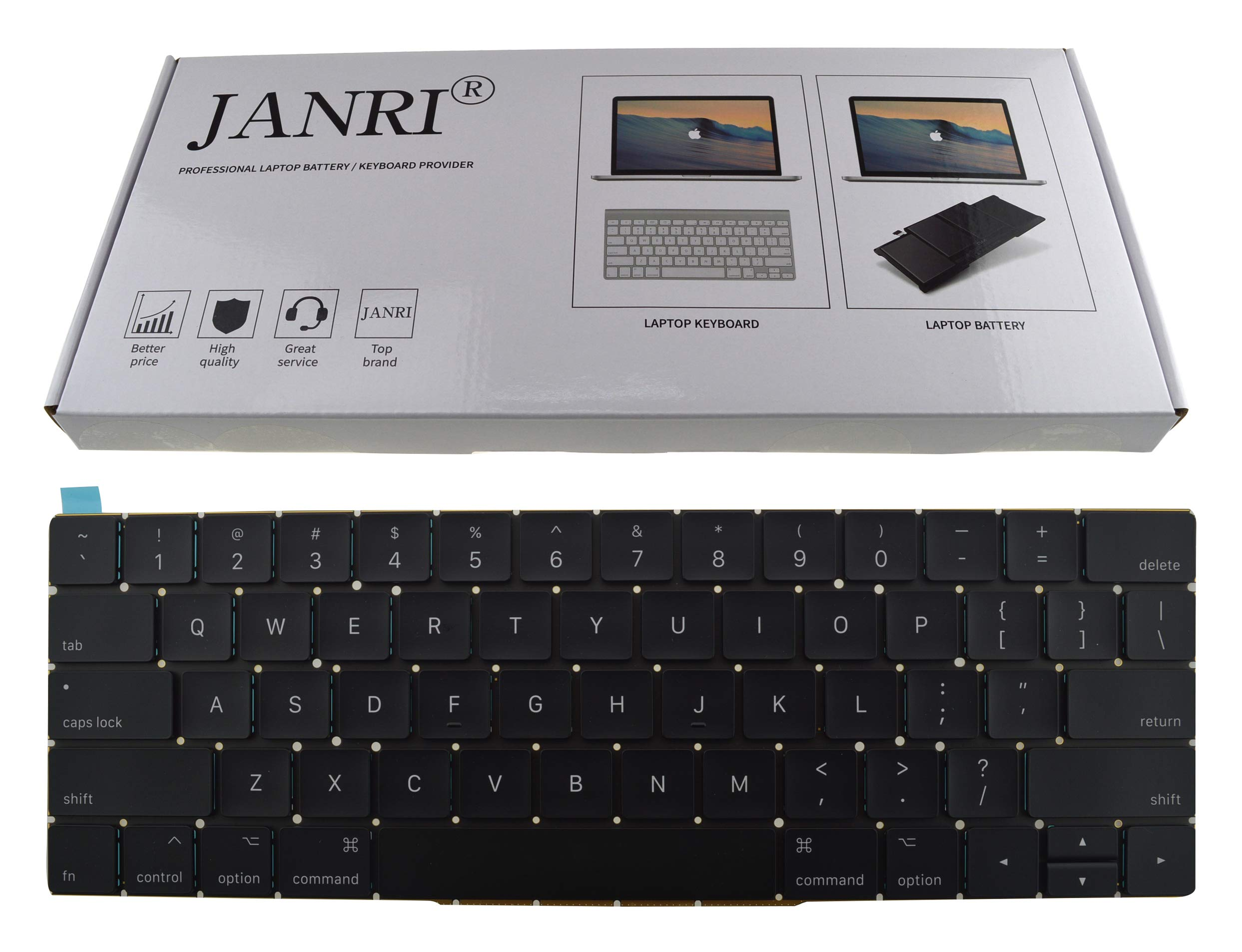 JANRI Replacement US Layout Keyboard for MacBook Pro 13'' inch A1706 & MacBook Pro 15'' inch A1707 Touch Bar (for Late 2016 mid 2017 Year)