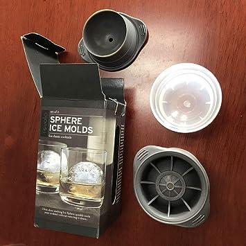 2 Unids Esfera Redonda Grande Moldes De Hielo Portable Ice Cube Ball Maker No Tóxico Moldes De Silicona Segura Para Whisky Cocktail: Amazon.es: Hogar