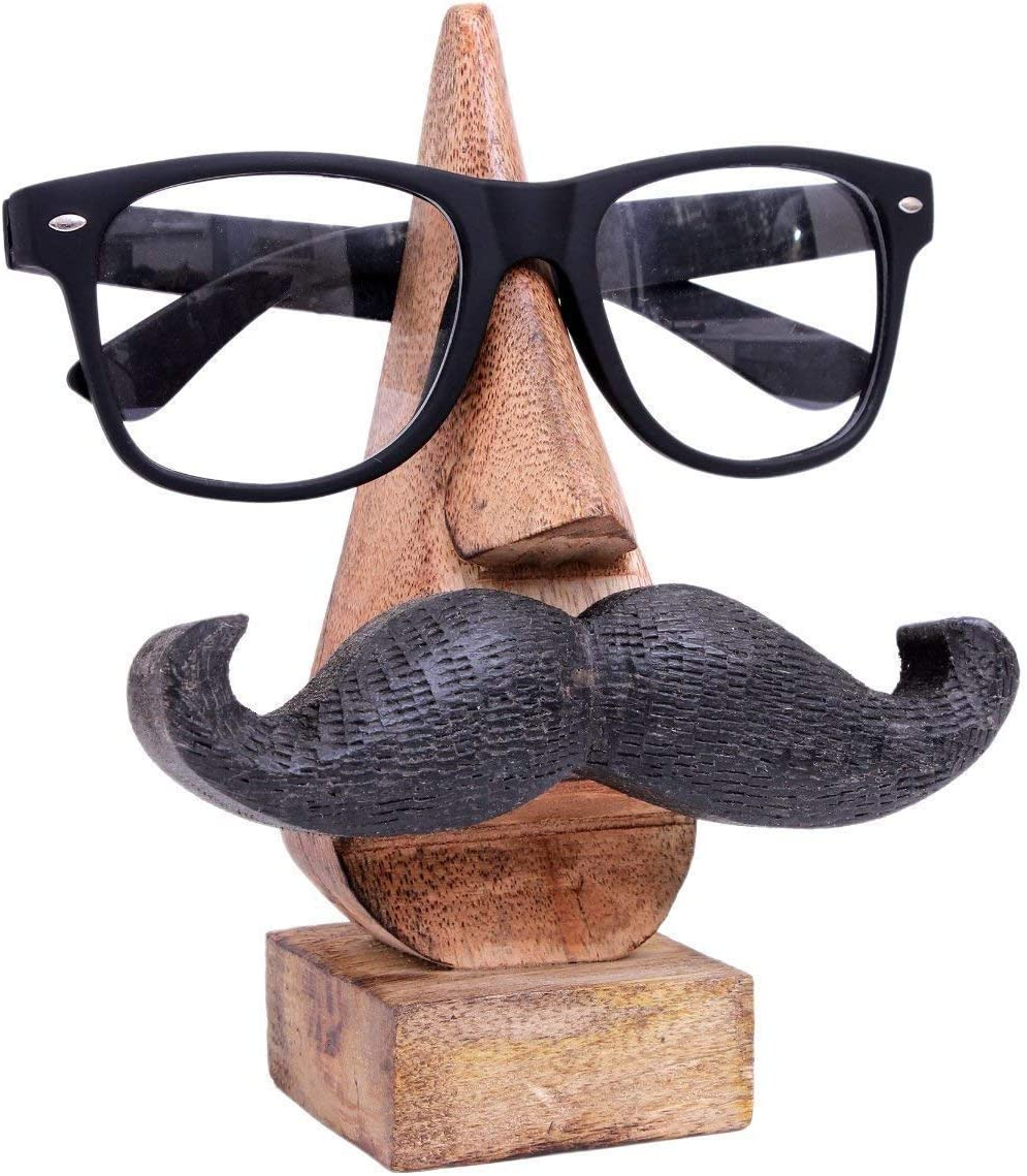 """Handmade 6"""" Hand Carved Wooden Eyeglass Spectacle Holder with an amusing Mustache, Sunglass Holder for Home and Office Desk Decor"""