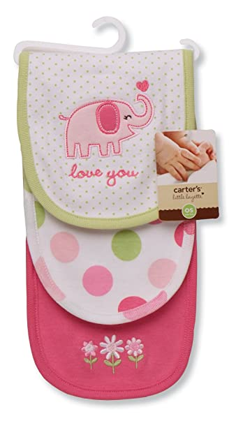 Carters 3 Piece Burp Cloth, Love You/Elephant
