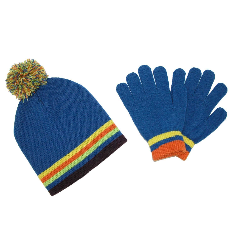 CTM® Kids' Knit Striped Hat and Gloves Winter Set, Blue GM-KB119SET-BLU