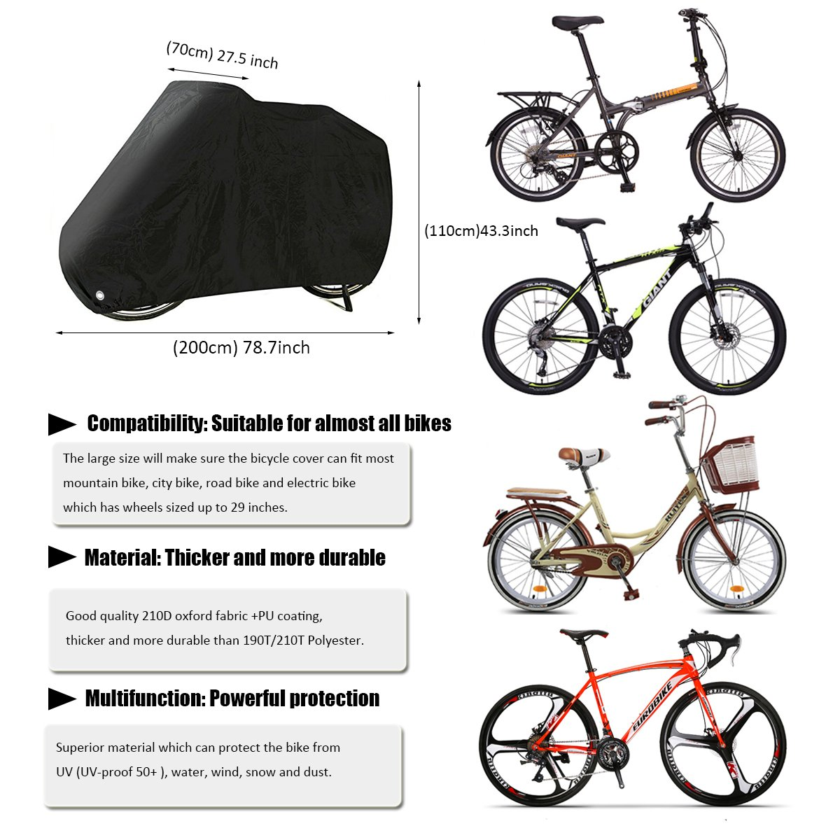AIMUHO Bike Cover 210D Oxford Fabric Waterproof Bicycle Cover with Lock Holes, Outdoor Bicycle Rain Cover UV Protection for All Weather Conditions/XL Size by AIMUHO (Image #3)