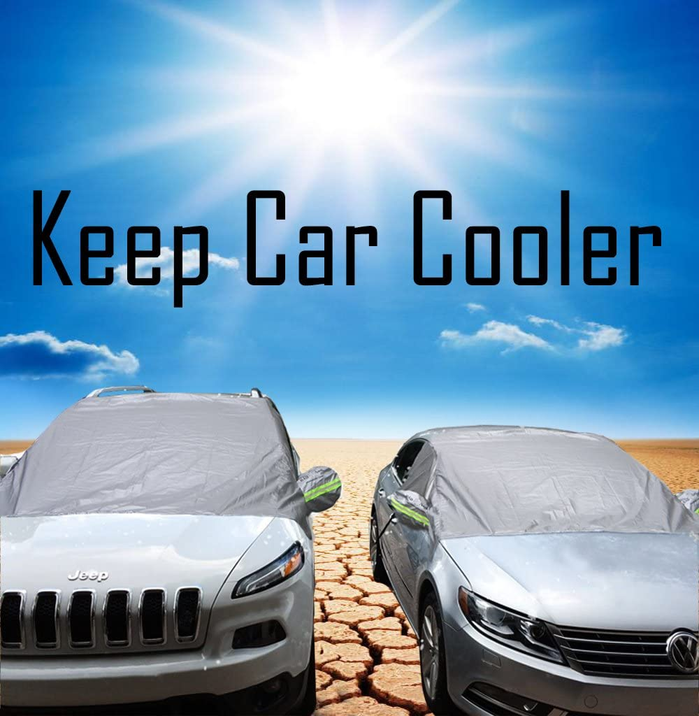 Big Ant Windshield Sun Shade Fit for Most Vehicle Ice Sun Frost and Wind Proof in All Weather Magnetic Car Sun Shade Elastic with Hooks Fixed Four Wheels /& Reflective Warning Bar on Mirror Covers