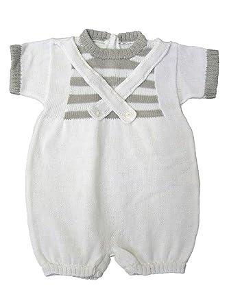 1467d1e6d Amazon.com: Baby's Trousseau White & Gray Criss Cross Romper: Clothing