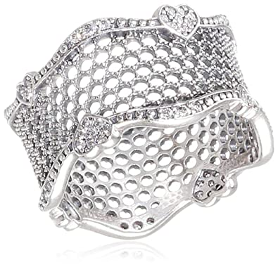 0f8002d3e Amazon.com: Pandora Lace of Love Silver Ring Size 8.5 with Clear CZ ...