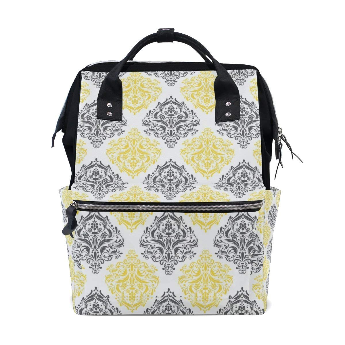 Yellow Gray White Damask Floral Pattern Diaper Bags Mummy Backpack