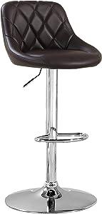 Furniture of America Braxton Adjustable Leatherette Swivel Bar Stool, Dark Brown