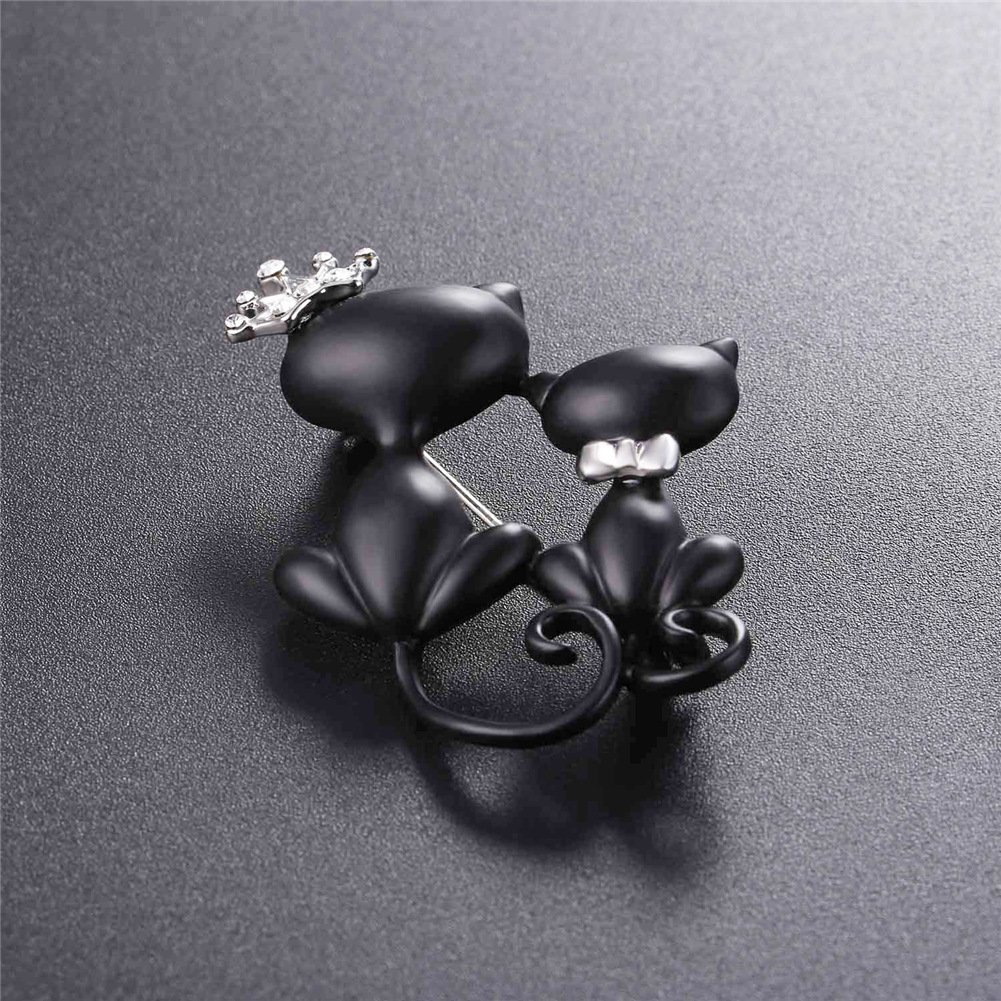 Lovely Crown Cat Brooch & Pin Black Gun Plated Double Kittens Cute Brooches Accessories for Women by U7 (Image #4)