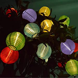 Vigdur Solar LED Fairy Lights Lantern String Light Waterproof Indoor Outdoor Decorative Lights Multicolor for Home Patio Garden Wedding Party Bedroom Lighting
