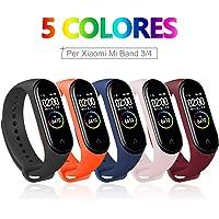 BANGTING 5 PCS Correa Compatible con Pulseras Xiaomi Mi Band 3/4, Correas para Fundas Mi Fit Band 4 My Band 3 Inteligente Funda Miband3 Pulsera Reloj Silicona Banda Reemplazo