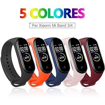 Bangting 5 PCS Correa Compatible con Pulseras Xiaomi Mi Band 3/4, Correas para Fundas Mi Fit Band 4 My Band 3 Inteligente Funda Miband3 Pulsera Reloj ...