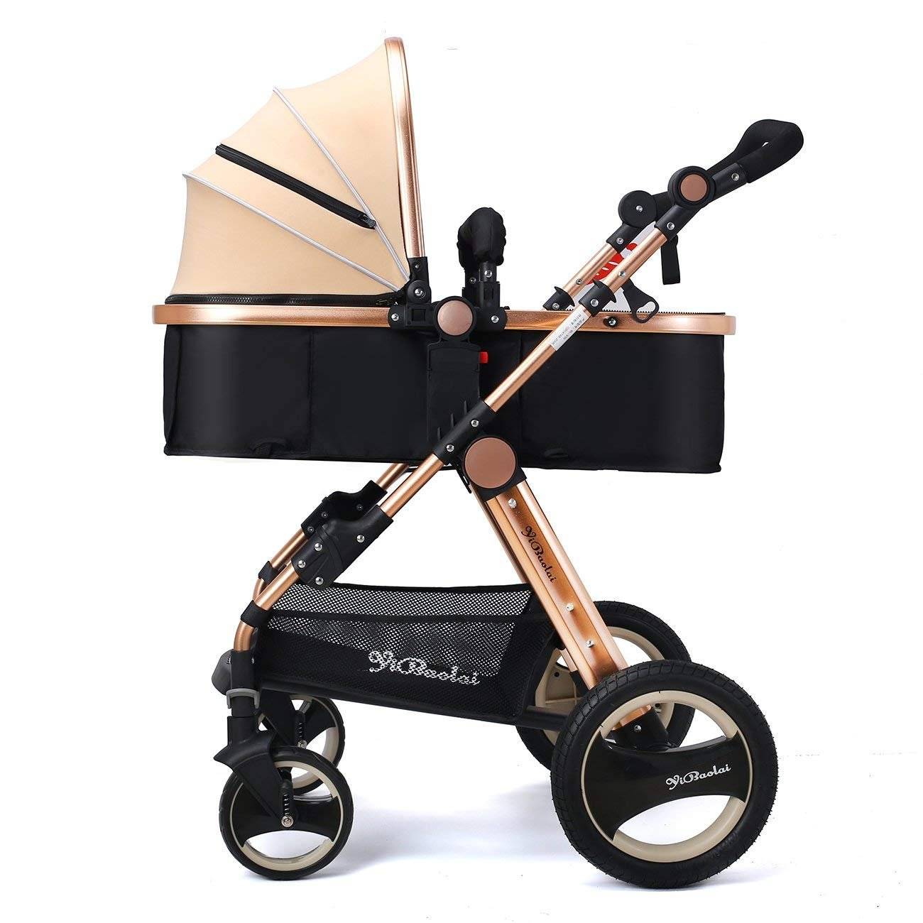 MAOSF Pushchairs High Landscape prams and pushchairs from Birth to 3 Years Old- Strollers for Newborn and Toddler Two Way Folding Aluminum Alloy Children's Trolley