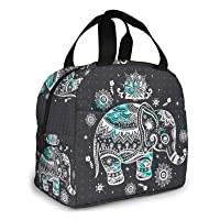 Mandala Tribe Elephant Lunch Box Insulated Lunch Bags Reusable Snack Bags Tote Bag with Front Pocket for Women Men…