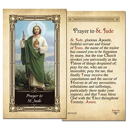 0d31c903854 Amazon.com : St.Jude Laminated Holy Card - Pack of 3 : Office Products