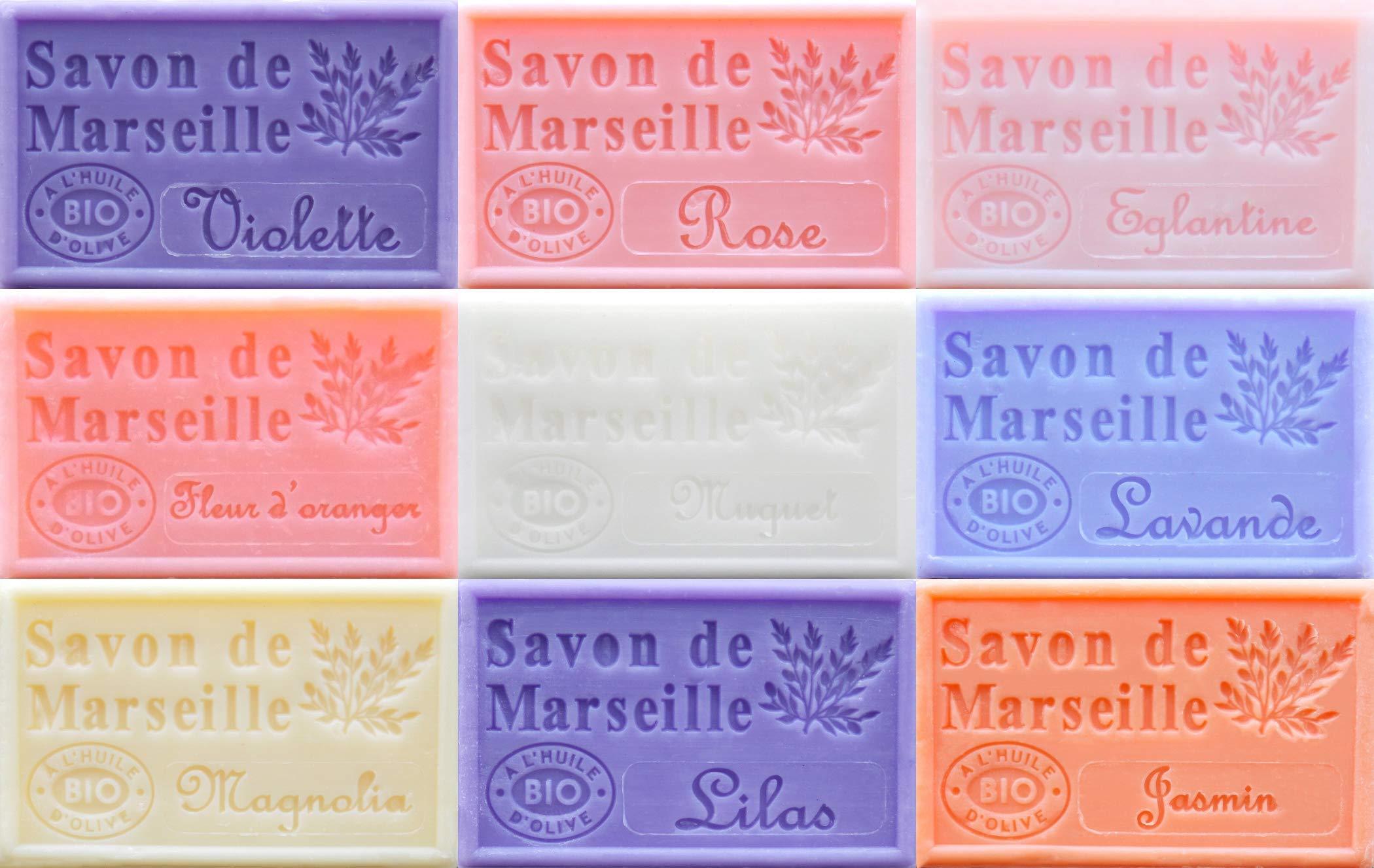 Savon de Marseille French Soaps, Boxed Set of 9 x 125g Soap Bars (Floral Fragrances), Vegetable Soap