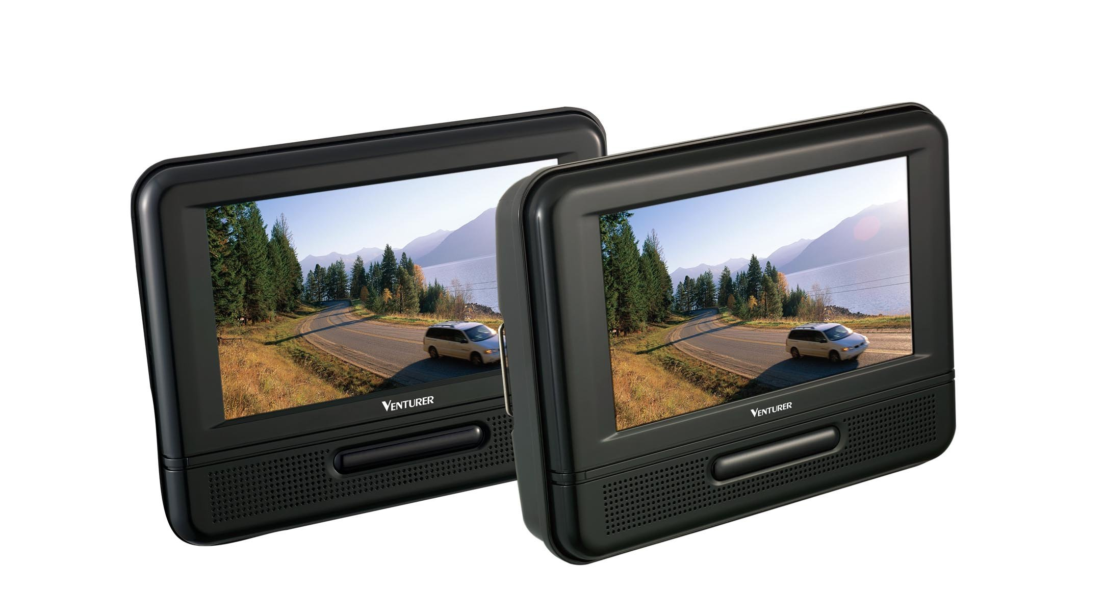 Venturer (PVS79703) Dual Screen Mobile DVD Player - Set of Two 7-Inch LCD Screens, (7-Piece Kit)