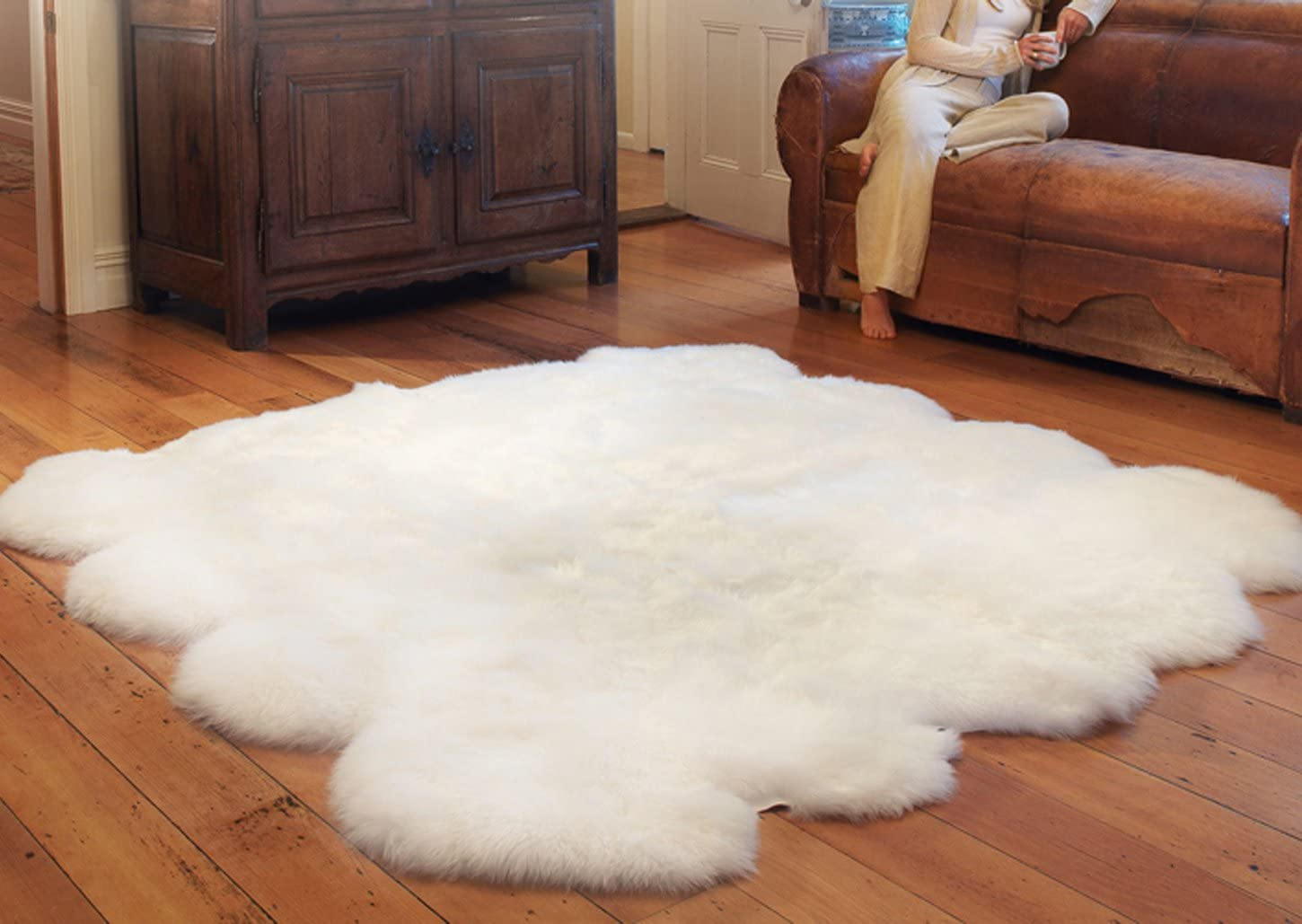 Meng Ge Australia Chic Style Sheepskin Decorative Area Rug Genuine Wool Thick Fur Rug White 8P