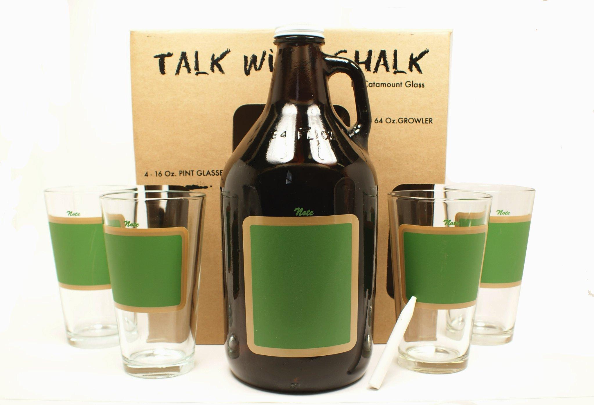 Catamount Glassware 5-Piece ''Talk With Chalk'' Growler Set, Green Chalkboard