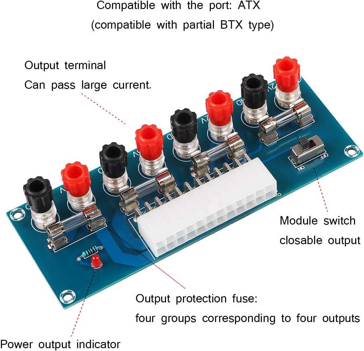 MakerHawk 2pcs 24Pins ATX Benchtop Power Adapter Board Computer ATX Power Supply Breakout Adapter Module 12V 5V 3.3V
