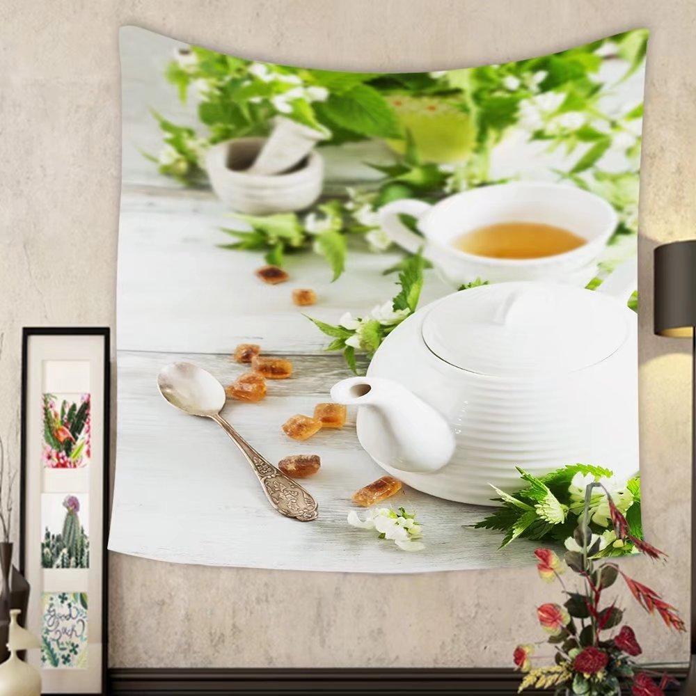 Carolyn J. Morin Custom tapestry nettle tea kettle sugar and fresh nettle branches health and diet concept