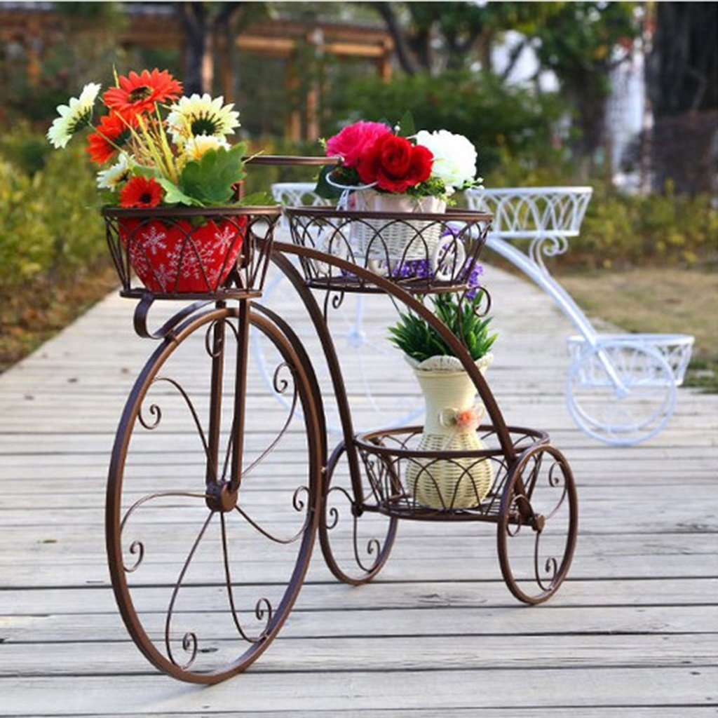 AIDELAI flower rack Iron Floor Flower Stand Bicycle Flower Rack Indoor Balcony Flower Stand Living Room Flower Pot Frame Patio Garden Pergolas ( Color : #1 ) by AIDELAI