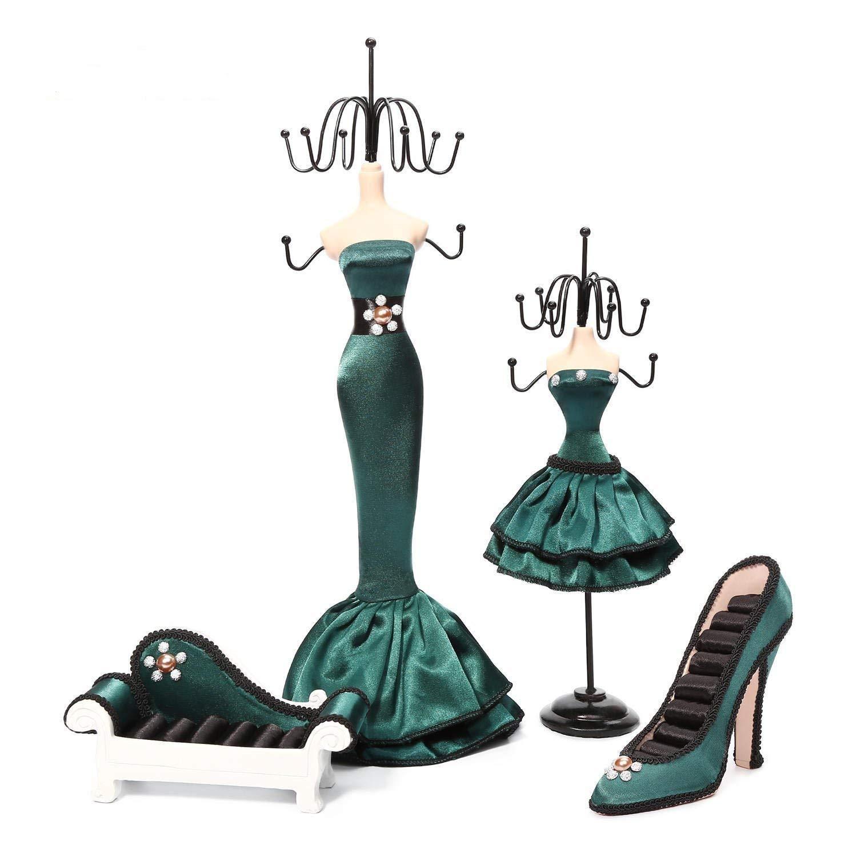 Coraltea Jewelry Holder Hanging Necklace Earring Bracelet Rings Orgaziner Shoe Dress Display Stand Set (green)