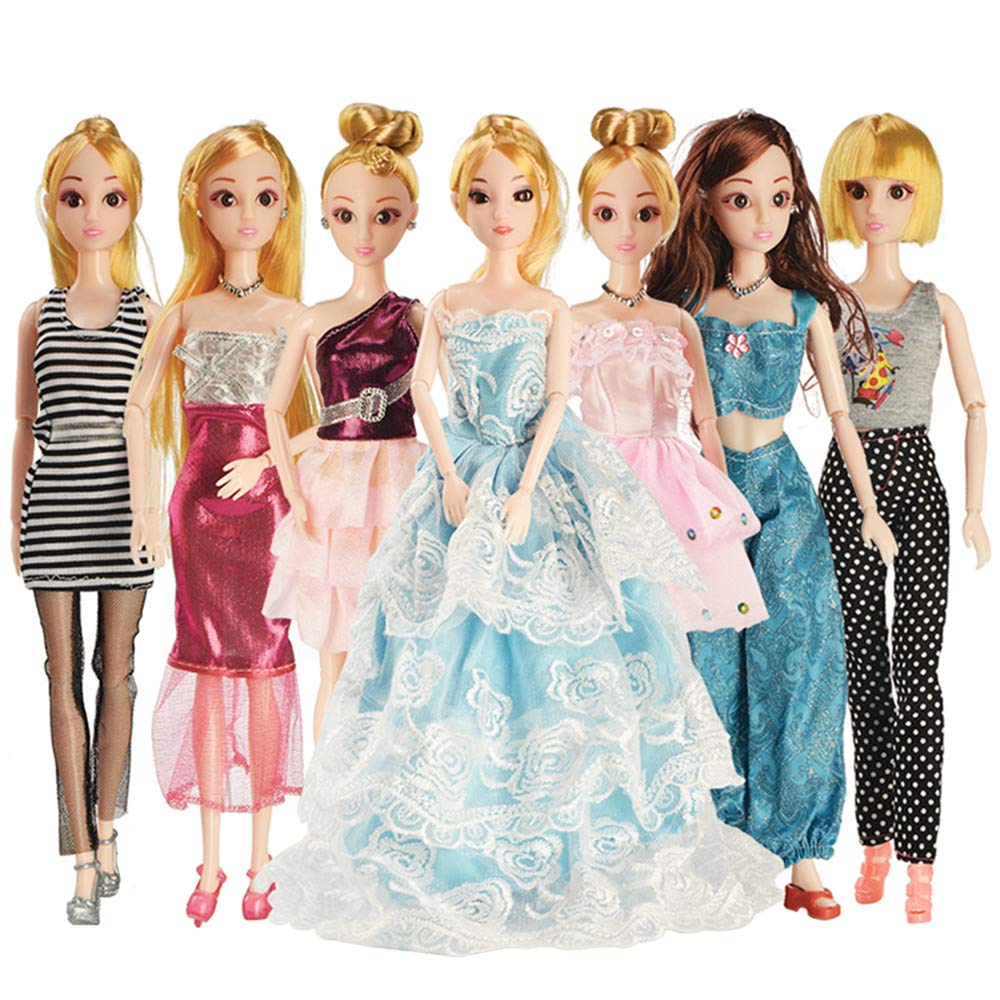BW 7 Sets Fashion Casual Wear Clothes , Barbie Doll Clothes Party Gown Outfits for Girl's Birthday [Clothes ONLY] BW Rin Co.