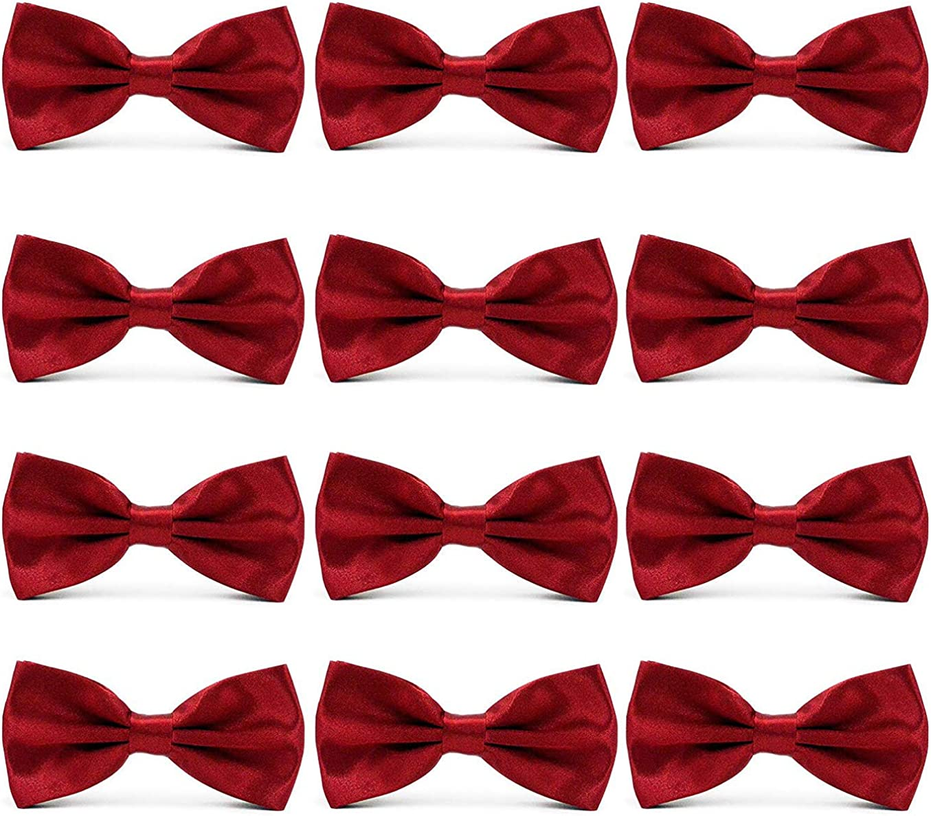 AVANTMEN Men's Bowties Formal Satin Solid - 12 Pack Bow Ties Pre-tied Adjustable Ties for Men Many Colors Option in bulk
