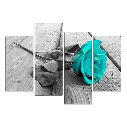 amazon com grepova art black white floral flower teal modern 4