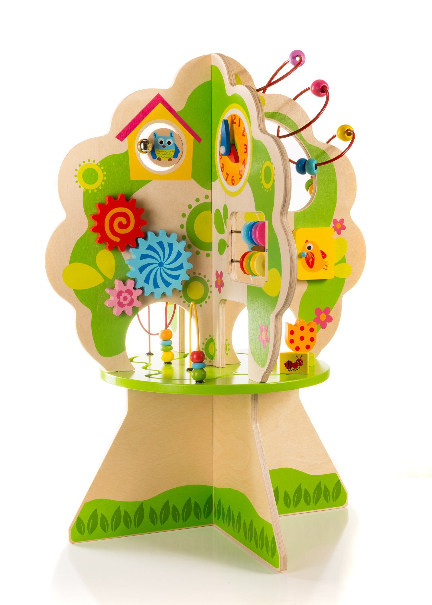 Ray's Toys Deluxe Wooden Activity Tree Center for Toddlers & Kids 1-5 Years –Educational Playstation for Learning Shapes, Colors, Time Telling & Counting –Made of Non-Toxic Wood W/ Water-Based Colors