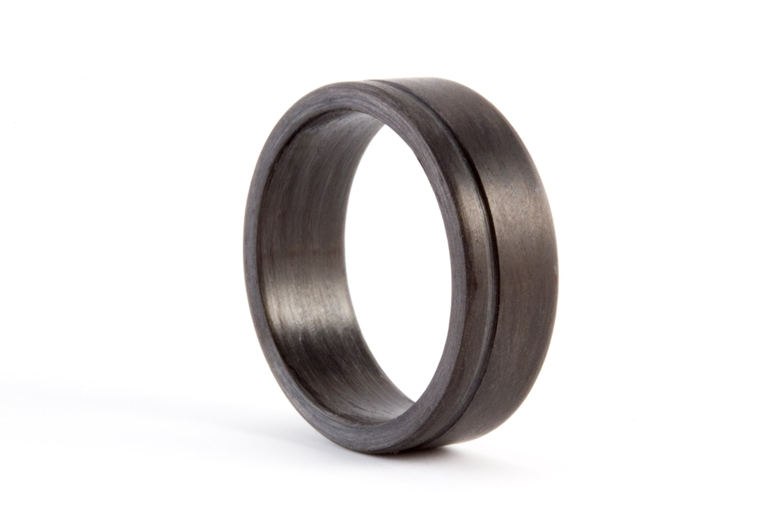 Men's carbon fiber flat ring. Unique and modern black wedding band. Water resistant, very durable and hypoallergenic. (00109_7N)