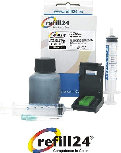 Kit de Recarga para Cartuchos de Tinta HP 301, 301 XL Negro, Incluye Clip y Accesorios + 50 ML Tinta: Amazon.es: Electrónica