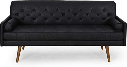 Christopher Knight Home Truda Mid Century Modern Microfiber Sofa with Button Accents, Black, Dark Walnut