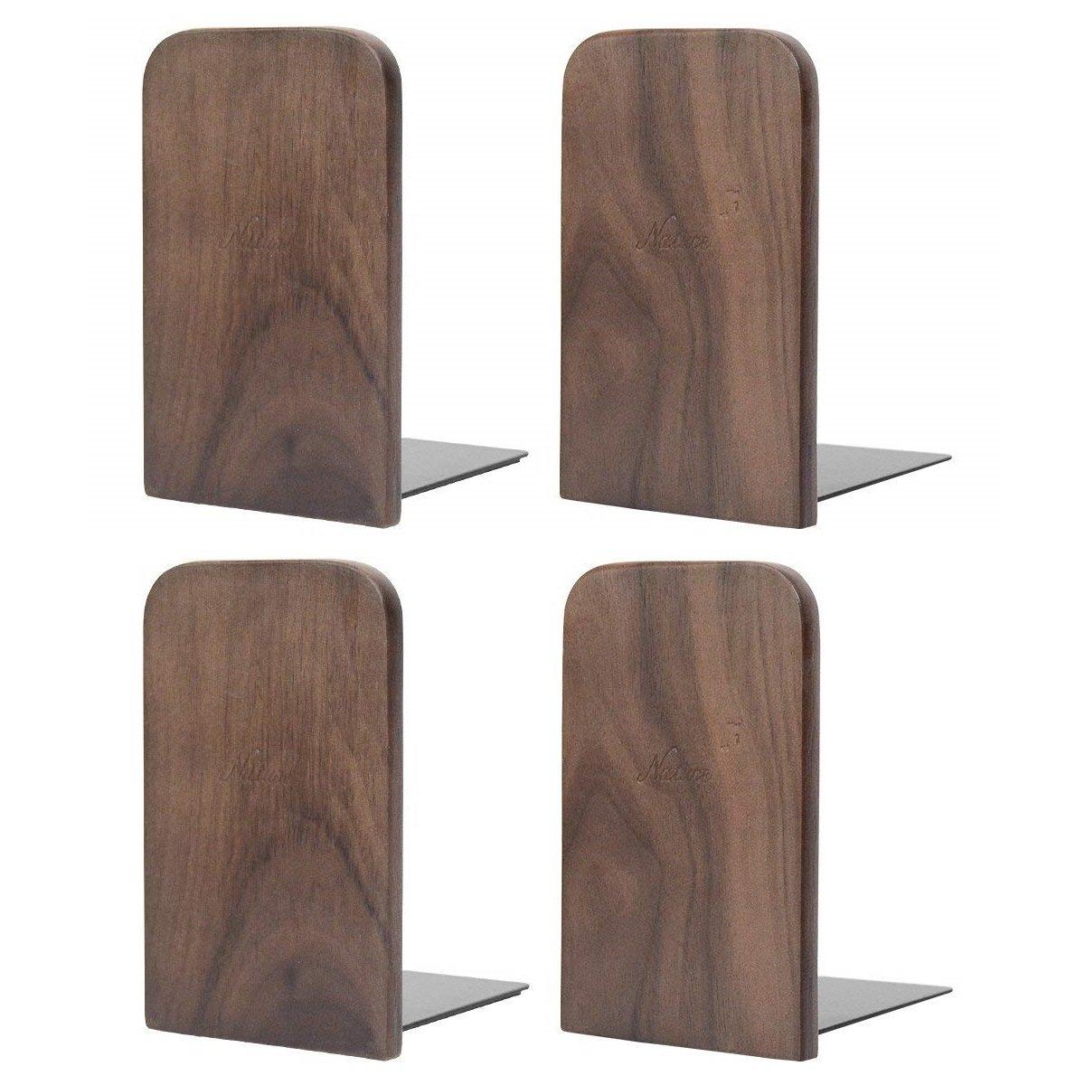 Musowood Bookend Natural Walnut Wood Office Desktop Bookends, (Walnut-2Pairs)