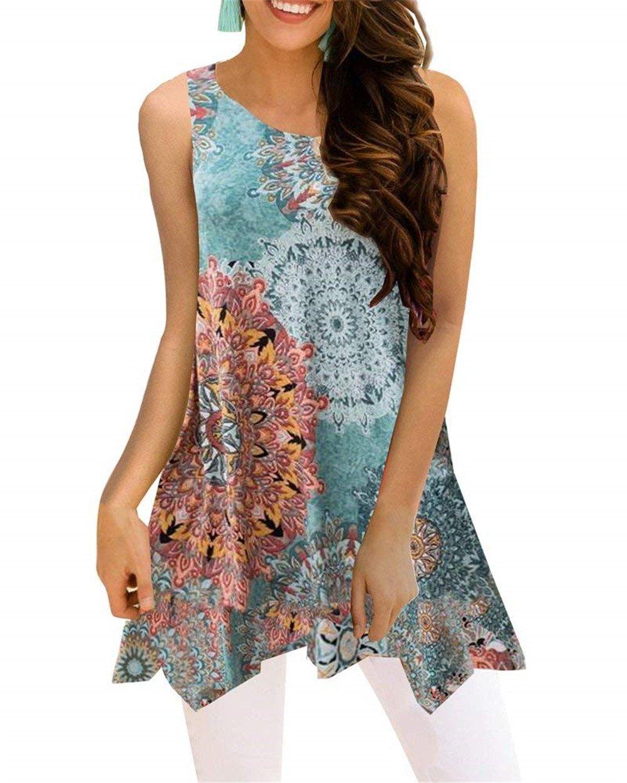Luranee Hawaiian Shirts for Women, Girls Loose Fit Tank Tops Crew Neck Blouses Fancy Sleeveless Shirt Baggy Modest Morden Beautiful Chic Asymmetric Hem Business Outfits Green XXL