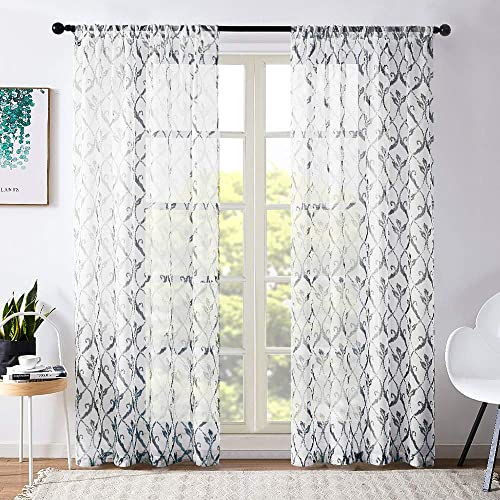 MRTREES Sheer Curtains Bedroom 72 inch Length Living Room Curtain Sheers Lattice Printed Voile Curtain Panels Trellis Geometry Drapes Rod Pocket Window Treatment 2 Panels Black