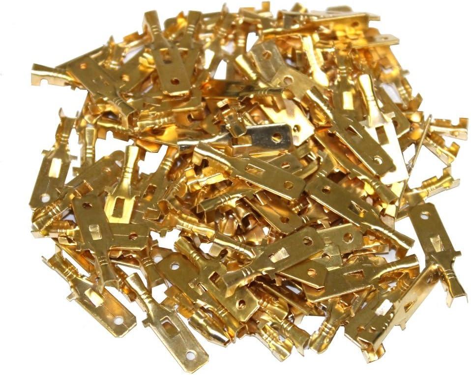C1266 Lot de 100 cosses /électriques /à sertir plates 6.3 mm m/âles Aerzetix