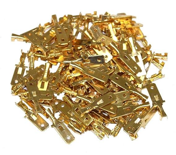 C1364 Aerzetix Lot de 100 cosses /électriques 6,3 mm /à sertir femelles plates en laiton brut