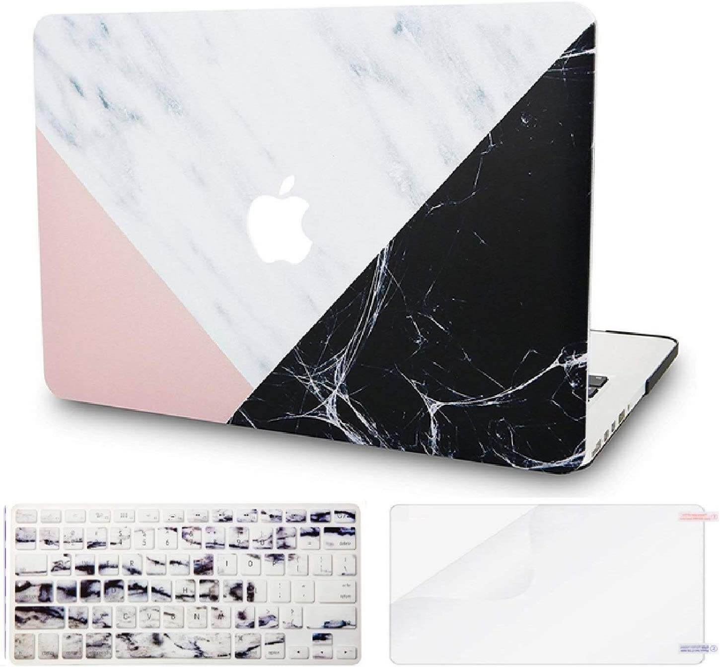 """KECC Laptop Case for MacBook Air 13"""" Retina (2020/2019/2018, Touch ID) w/Keyboard Cover + Screen Protector Plastic Hard Shell A1932 3 in 1 Bundle (White Marble Pink Black)"""