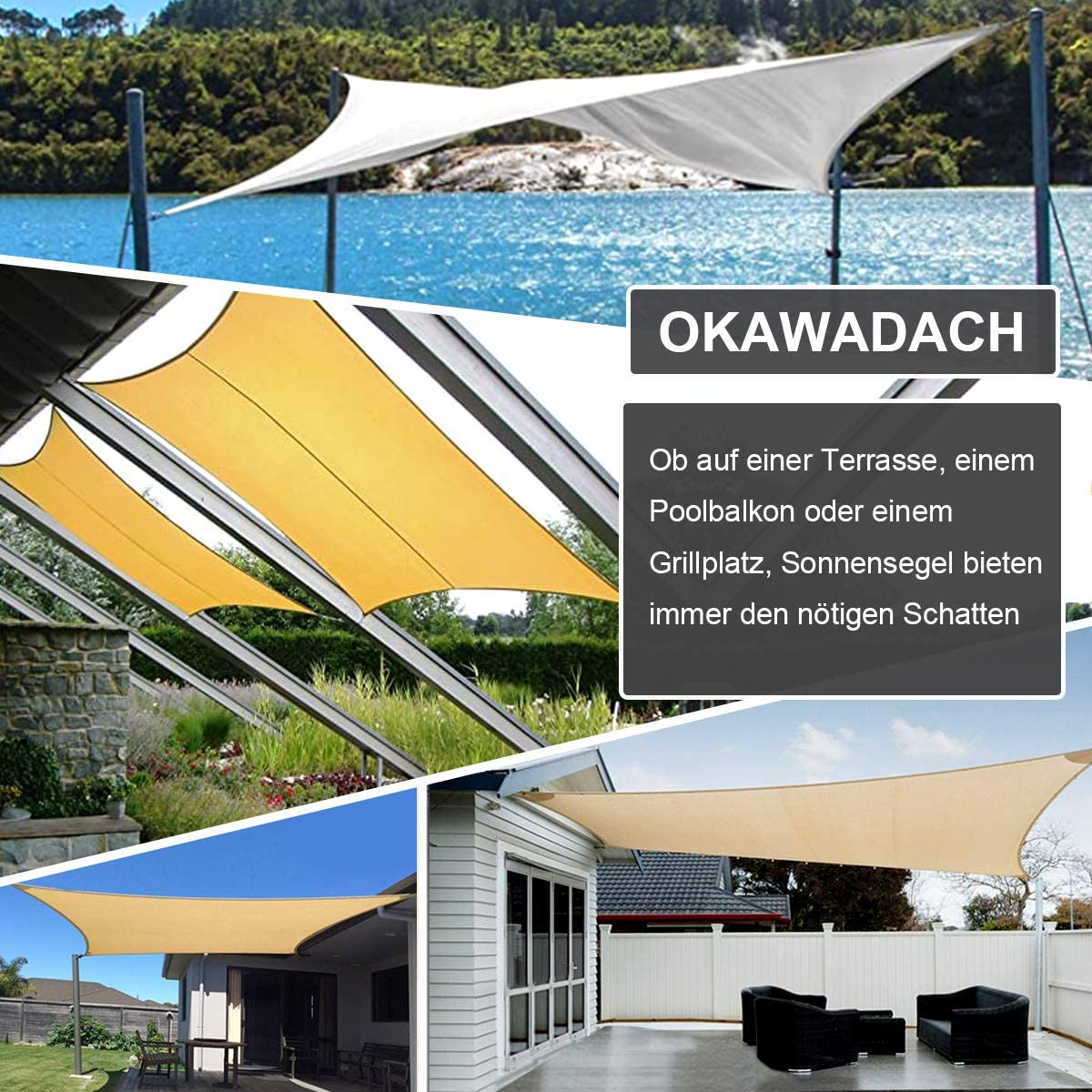 OKAWADACH Toldo Vela de Sombra Rectangular 2 x 4m, protección Rayos UV Impermeable para Patio, Exteriores, Jardín, Color Naranja