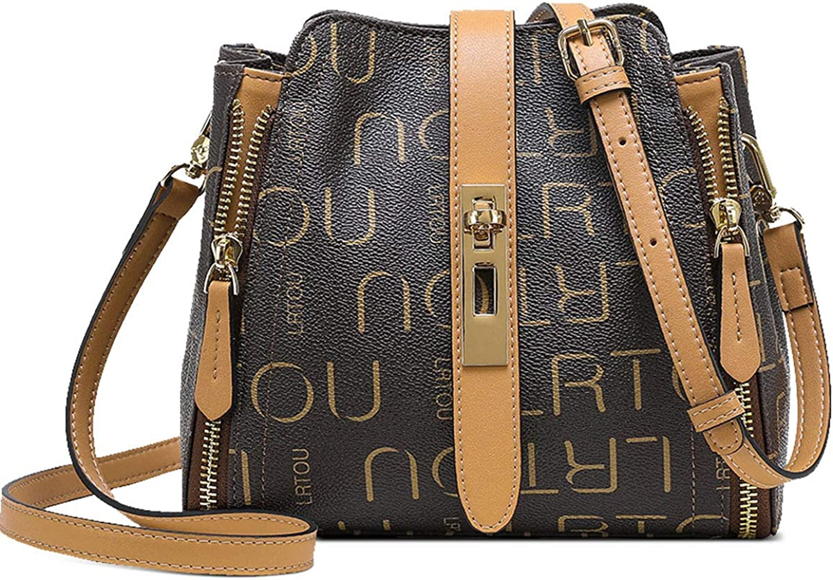 LAORENTOU PVC Checkered Handbags Purses for Women Faux Leather Shoulder Bags Ladies Monogram Crossbody Bags with Handle